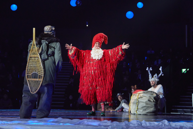 <p><em>Alan Francis as Mr Beaver, Tim Dalling as Father Christmas and Gareth Aled as Reindeer</em></p><br />© Brinkhoff-Moegenburg