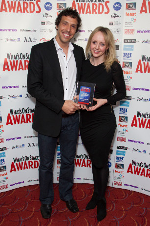 <p>Alex Gaumond and Hayley Flaherty collect the Award for Best West End Show for <em>Matilda</em></p><br />© Dan Wooller for WhatsOnStage