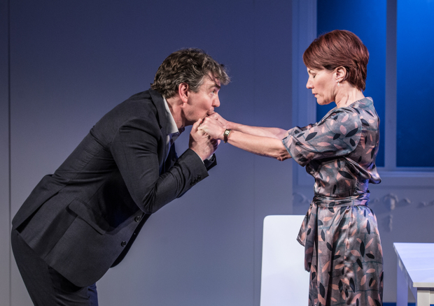 <p>Alexander Hanson (Michel) and Tanya Franks (Laurence)</p><br />© Marc Brenner