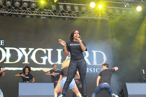 <p>Alexandra Burke and the cast of <em>The Bodyguard</em></p><br />© Ben Hewis