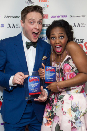 <p>Alexia Khadime and Stephen Ashfield celebrate their wins</p><br />© Dan Wooller for WhatsOnStage