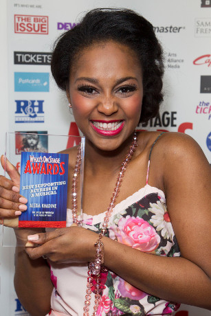 <p>Alexia Khadime collects the Award for Best Supporting Actress in a Musical for <em>The Book of Mormon</em></p><br />© Dan Wooller for WhatsOnStage