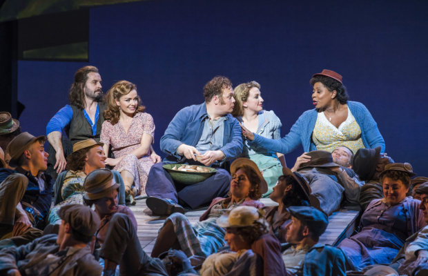 <p>Alfie Boe (Billy Bigelow), Katherine Jenkins (Julie Jordan), Gavin Spokes (Mr Snow), Alex Young (Mrs Snow), Brenda Edwards (Nettie Fowler) in <em>Carousel</em></p><br />©Tristram Kenton