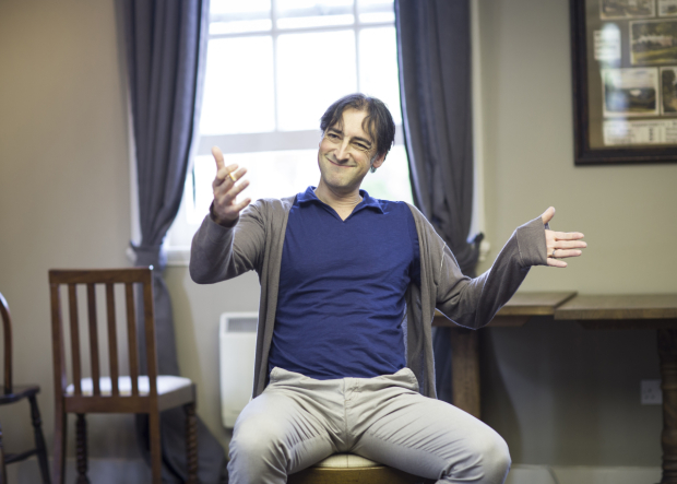 <p>Alistair McGowan (Jimmy Savile) in rehearsals</p><br />Helen Maybanks