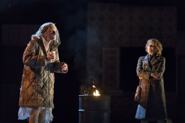 <p>Amanda Lawrence (A Homeless Woman) and Susan Brown (Hannah) in <em>Angels in America - Millennium Approaches</em></p><br />(c) Helen Maybanks