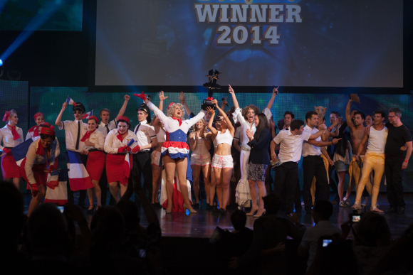 <p>And we have joint winners! <em>Mamma Mia!</em> and <em>Les Miserables</em> celebrate their victory</p><br />© Darren Bell