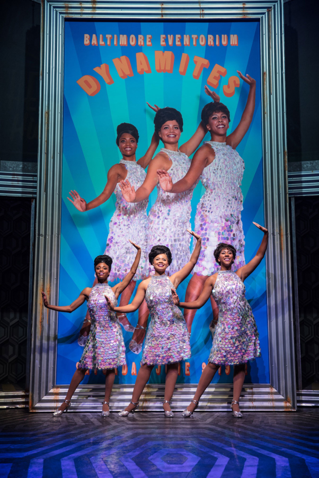 <p>&#39&#x3B;The Dynamites&#39&#x3B; Emily-Mae, Melissa Nettleford and Lauren Concannon in <em>Hairspray</em></p><br />© Darren Bell