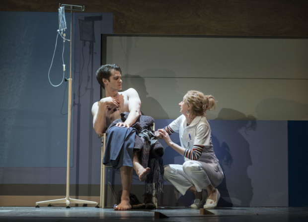 <p>Andrew Garfield (Prior) and Amanda Lawrence (Emily) in <em>Angels in America - Millennium Approaches</em></p><br />(c) Helen Maybanks