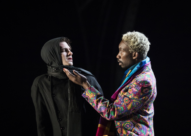 <p>Andrew Garfield (Prior) and Nathan Stewart-Jarrett (Belize) in <em>Angels In America: Perestroika</em> </p><br />©  Helen Maybanks