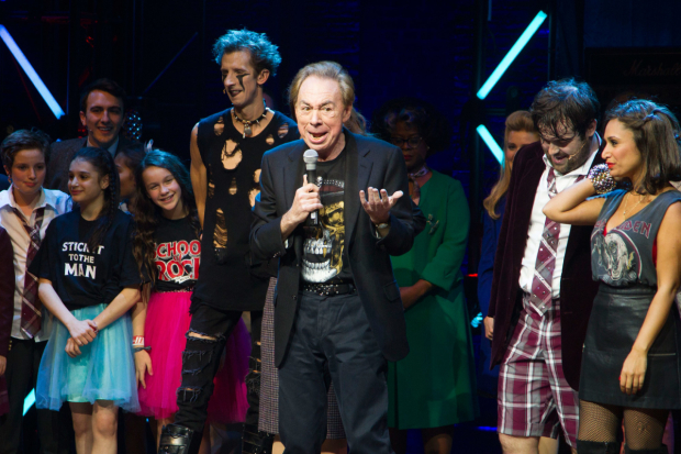 <p>Andrew Lloyd Webber and the cast of <em>School of Rock</em></p><br />© Dan Wooller for WhatsOnStage