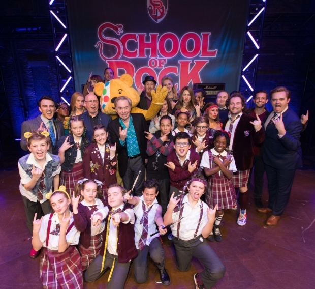 <p>Andrew Lloyd Webber, Pudsey Bear and the cast and crew of <em>School of Rock</em></p><br />© Paul Hampartsoumian
