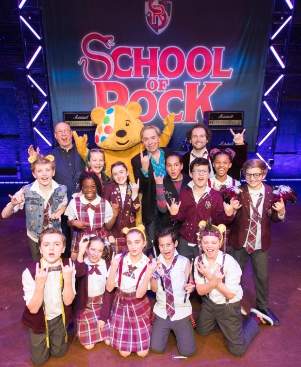 <p>Andrew Lloyd Webber, Pudsey Bear and the cast of <em>School of Rock</em></p><br />© Paul Hampartsoumian