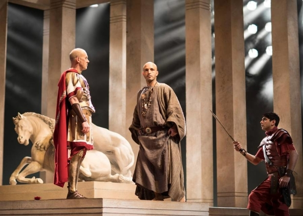 <p>Andrew Woodall as Julius Caesar, Waleed Elgadi as Soothsayer and Dharmesh Patel as Soldier</p><br />© Helen Maybanks