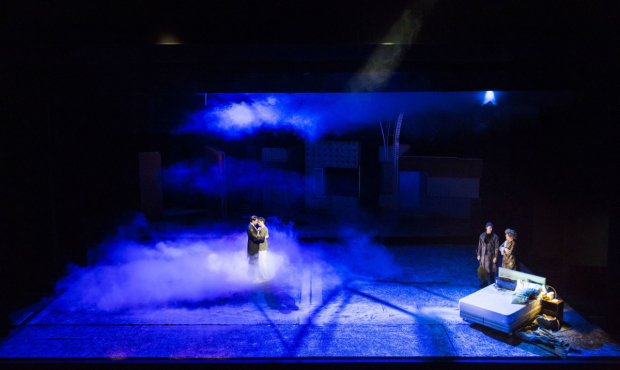 <p>AndrewGarfield (Prior), James McArdle (Louis), Russell Tovey (Prior 1) and Nathan Lane (Prior 2)  in <em>Angels in America - Millennium Approaches</em></p><br />(c) Helen Maybanks