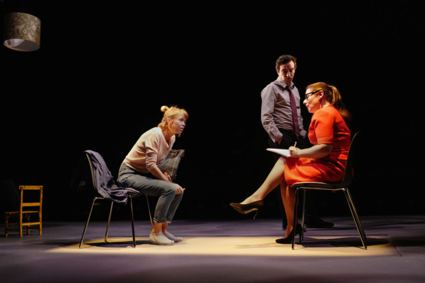 <p>Anna Maxwell Martin (Kitty) Ben Chaplin(Edward) Heather Craney (Laura) in <em>Consent</em></p><br />(c) Sarah Lee