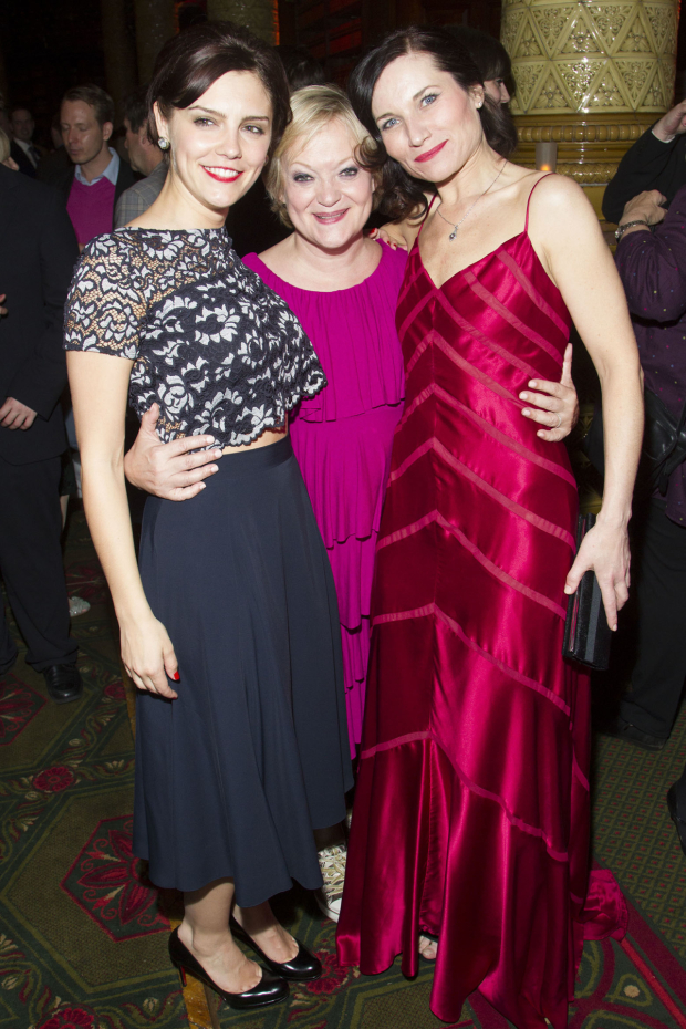<p>Annabel Scholey (Liz Imbrie), Maria Friedman (director) and Kate Fleetwood (Tracy Lord)</p><br />© Dan Wooller for WhatsOnStage