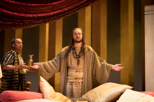 <p>Anthony Ofoegbu as Diomedes and Will Bliss as Soothsayer</p><br />© Helen Maybanks