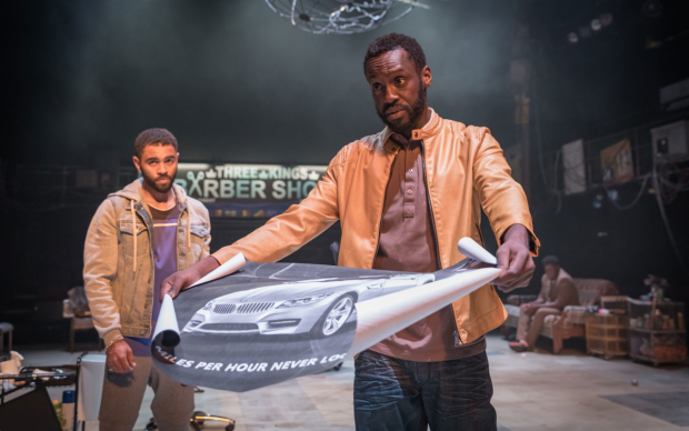 <p>Anthony Welsh (Winston) and Sule Rimi (Elnathan) in <em>Barber Shop Chronicles</em></p><br />© Marc Brenner