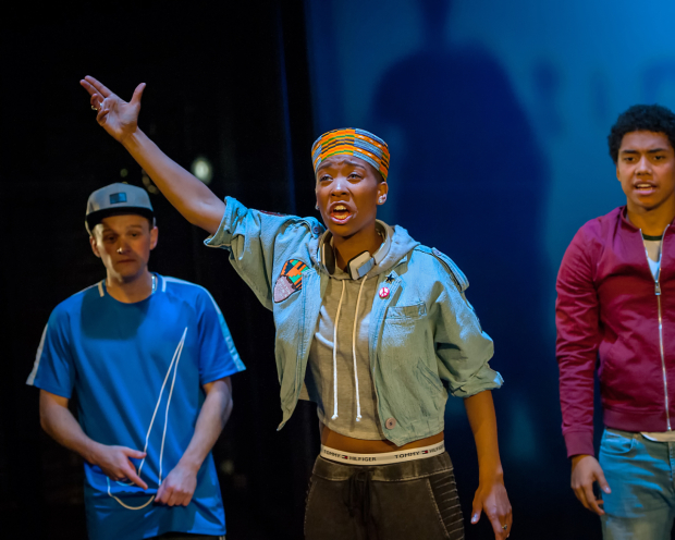 <p>Archie Rush as Mack, Genesis Lynea as Queenie and Chance Perdomo as The in <em>Ode to Leeds</em></p><br />© Anthony Robling