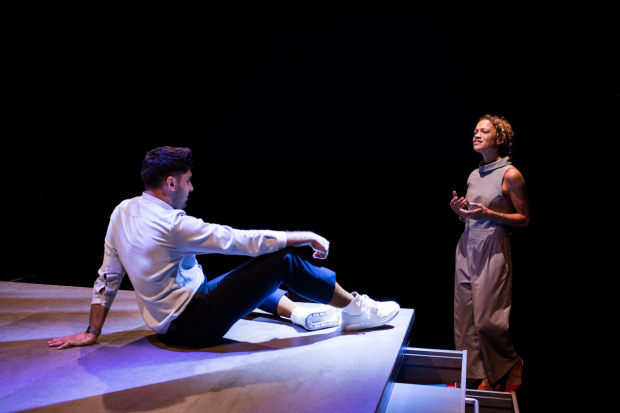 <p>Arian Nik as Karlmann and Indra Ove as Fanny in <em>The Ugly One</em></p><br />© Helen Maybanks