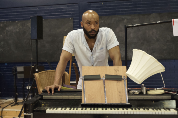 <p>Arinzé Kene in rehearsals for <em>Girl from the North Country</em></p><br />© Manuel Harlan