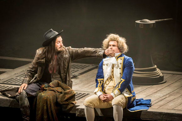 <p>Arthur Darvill and Nick Fletcher (Squire Trelawney)</p><br />© Johan Persson