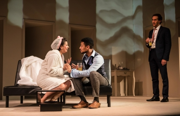 <p>Ashleigh Gray, Arun Blair-Mangat and Oliver Savile in <em>Company</em></p><br />© Pamela Raith