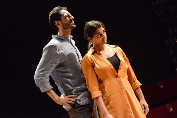 <p>Ben Addis (Ben) and Natalie Dew (Rachel) in <em>Deposit</em></p><br />© Robert Day