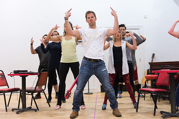 <p>Ben Richards (Stacee Jaxx)  and company in rehearsal for <em>Rock of Ages The Musical</em> UK Tour</p><br />© Manuel Harlan