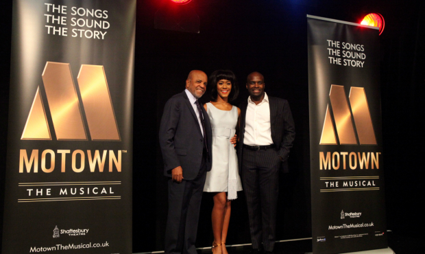 <p>Berry Gordy, Lucy St. Louis (Diana Ross) and Cedric Neal (Berry Gordy) at the <em>Motown The Musical</em> launch. </p><br />(c) Craig Sugden.