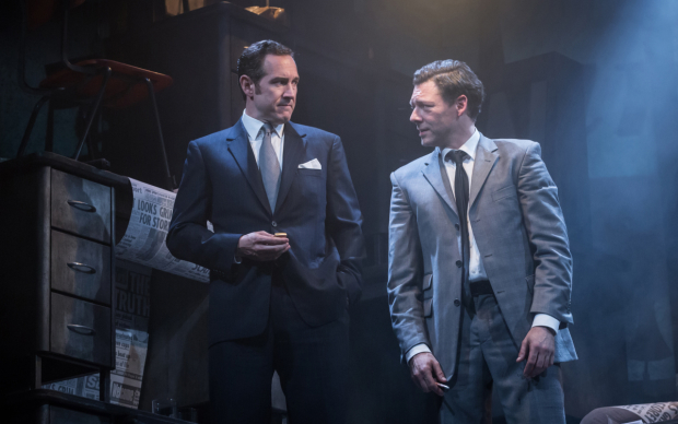 <p>Bertie Carvel (Rupert Murdoch) and Richard Coyle (Larry Lamb) in <em>Ink</em></p><br />© Marc Brenner