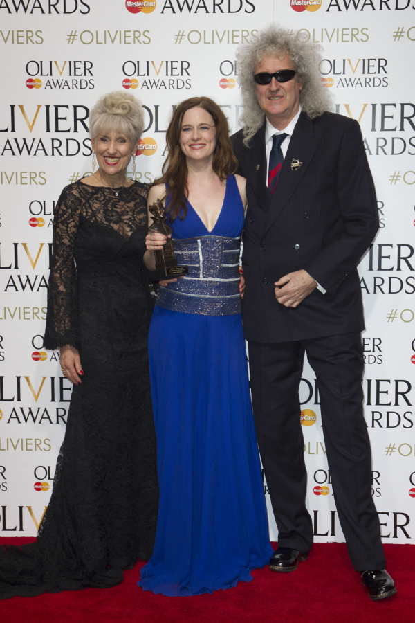 <p>Best Actress in a Musical: <em>Beautiful</em>&#39&#x3B;s Katie Brayben with Anita Dobson and Brian May</p><br />© Dan Wooller