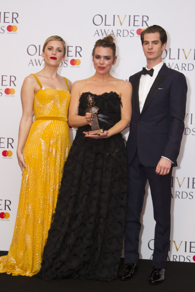 <p>Billie Piper with the award for Best Actress for <em>Yerma</em> at Young Vic, presented by Denise Gough and Andrew Garfield</p><br />© Dan Wooller for WhatsOnStage© Dan Wooller for WhatsOnStage