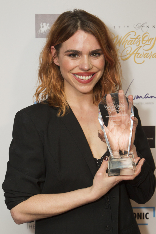 <p>Billie Piper accepts the award for Best Actress in a Play for <em>Yerma</em></p><br />© Dan Wooller for WhatsOnStage