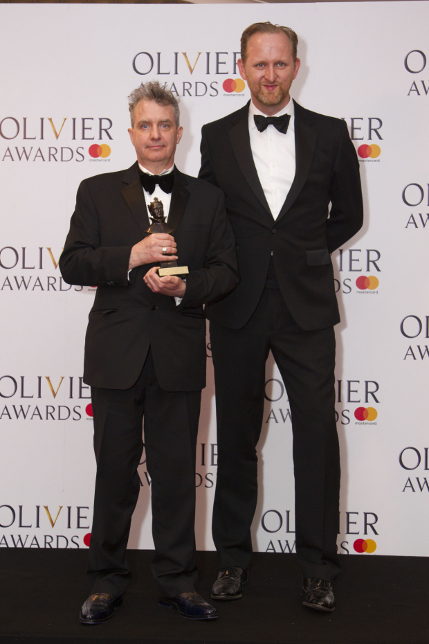 <p>Bob Holland and Phelim McDermott with the award for Best New Opera Production <em>Akhnaten</em> at London Coliseum</p><br />© Dan Wooller for WhatsOnStage