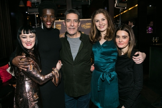 <p>Bronagh Gallagher (Mrs Burke), Sheila Atim (Marianne Laine), Ciarán Hinds (Nick Laine), Claudia Jolly (Katherine Draper) and Shirley Henderson (Elizabeth Laine)</p><br />© Dan Wooller for WhatsOnStage