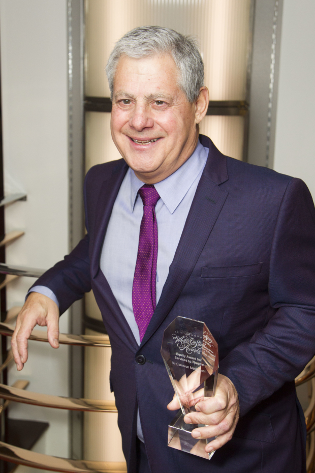<p>Cameron Mackintosh accepts the Equity Award for Lifetime Achievement (So Far)</p><br />© Dan Wooller for WhatsOnStage