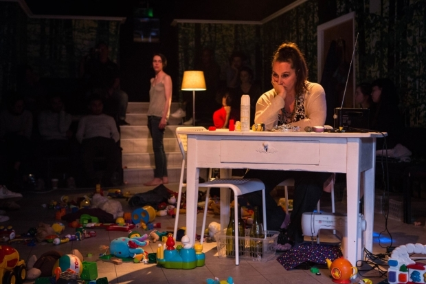 <p>Caoilfhionn Dunne (Suzy) and Kate Duchene (Chorus)  in <em>Suzy Storck</em></p><br />© Helen Murray