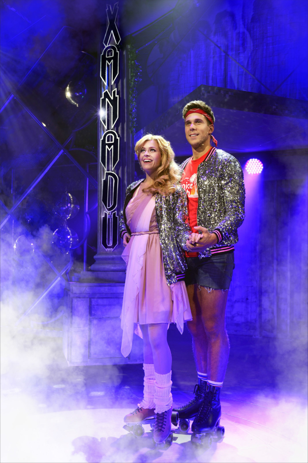 <p>Carly Anderson as Kira and Samuel Edwards as Sonny in <em>Xanadu</em></p>