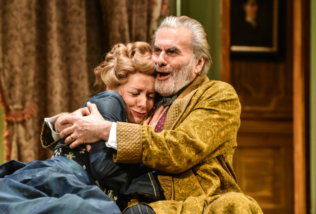 <p>Caroline Langrishe and Oliver Cotton in <em>Bang Bang</em></p><br />Photo by Robert Day