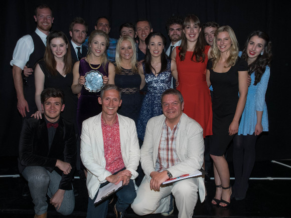 <p>Cast with New Song judges Scott Alan, Andrew Lippa, George Stiles and Antony Drewe</p><br />© David Ovenden