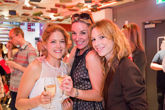 <p>Charity Wakefield, Tamsin Outhwaite and Honeysuckle Weeks enjoy a glass of vino</p><br />© Mark Douet