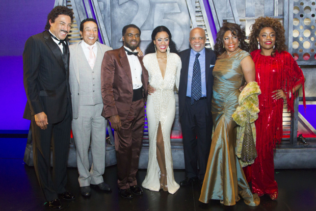 <p>Charl Brown (Smokey Robinson), Smokey Robinson, Cedric Neal (Berry Gordy), Lucy St Louis (Diana Ross), Berry Gordy (producer/music/lyrics), Mary Wilson And Cherelle Williams (Mary Wilson) </p><br />© Dan Wooller for WhatsOnStage