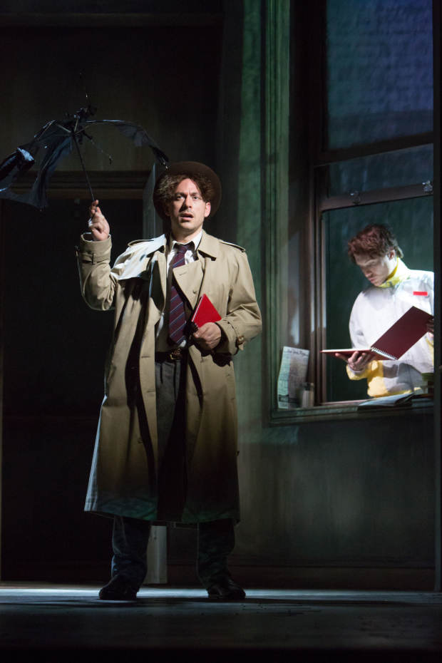 <p>Chris New as Daniel Quinn (centre) in <em>City of Glass</em> </p><br />©Jonathan Keenan