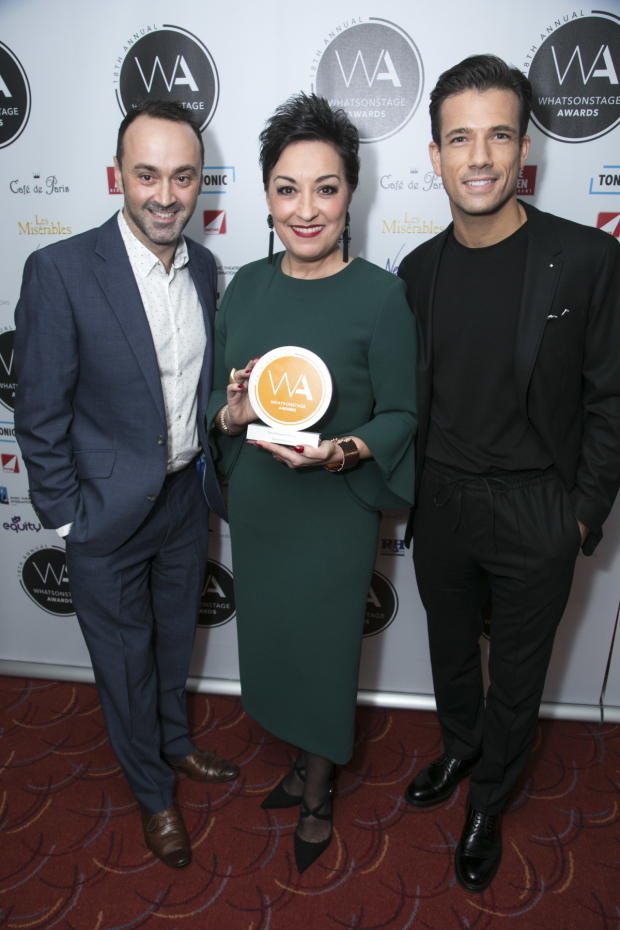 <p>Chris Stafford, Ria Jones and Danny Mac accepts the award for Best Regional Production for <em>Sunset Boulevard</em></p><br />© Dan Wooller for WhatsOnStage