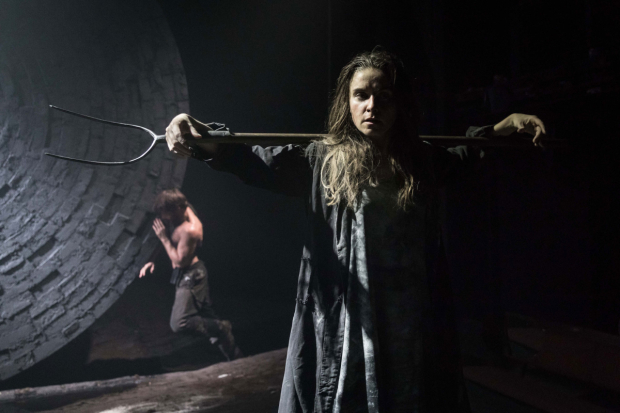 <p>Christian Cooke (Pony William) and Judith Roddy (Young Woman) in <em>Knives in Hens</em></p><br />© Marc Brenner
