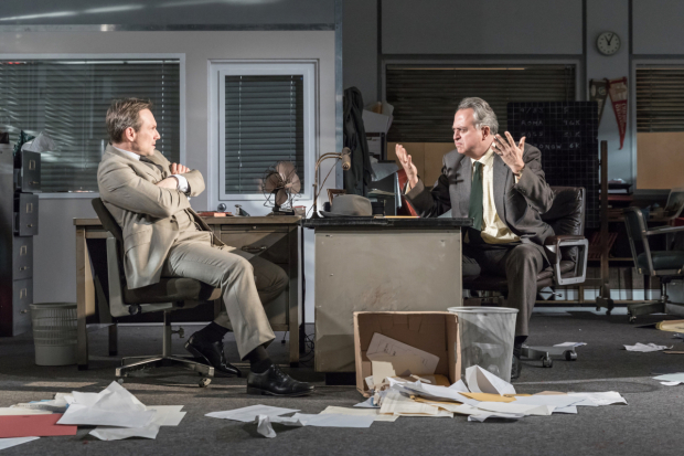 <p>Christian Slater and Stanley Townsend in <em>Glengarry Glen Ross</em></p><br />© Marc Brenner
