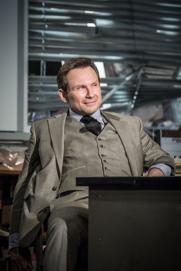 <p>Christian Slater in <em>Glengarry Glen Ross</em></p><br />© Marc Brenner