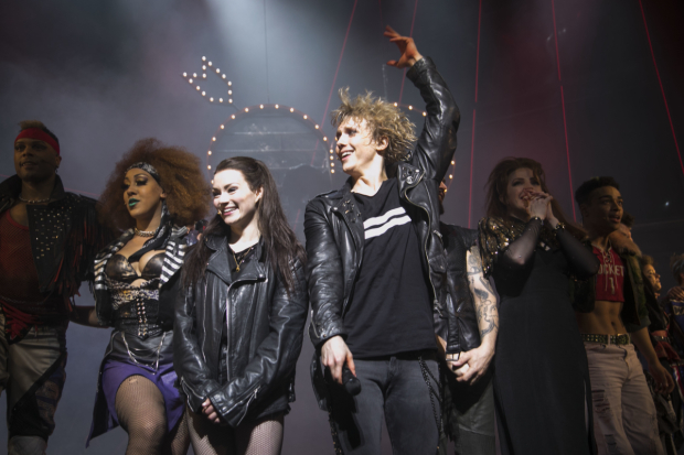 <p>Christina Bennigton (Raven) and Andrew Polec (Strat) during the curtain call</p><br />© Dan Wooller for WhatsOnStage