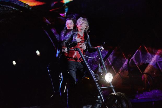 <p>Christina Bennington as Raven and Andrew Polec as Strat in <em>Bat Out Of Hell</em></p><br />© Jim Ross